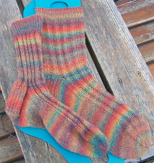 Slipped Stitch Ribbed Socks